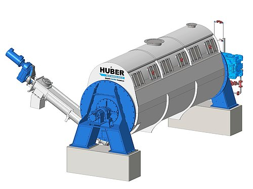 HUBER Disc Thickener RotaDry® with discharge screw for the partially dried sewage sludge
