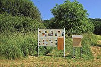 The new home of the bee colony in the Huber-Natur-Park togehther with informative display boards