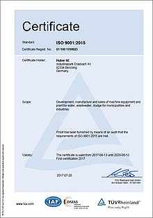 up-to-date HUBER SE ISO 9001 certificate (2017)