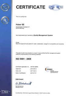up-to-date HUBER SE ISO 9001 certificate (2011 - 2014)